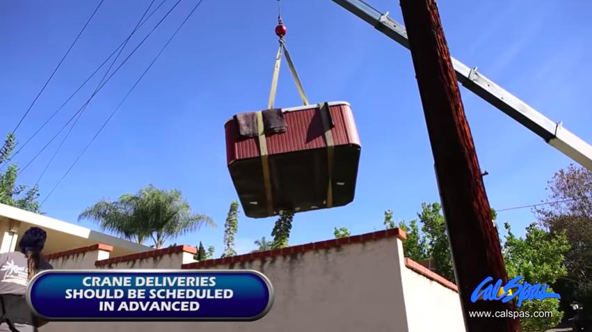 Cal Spas hot tub crane delivery